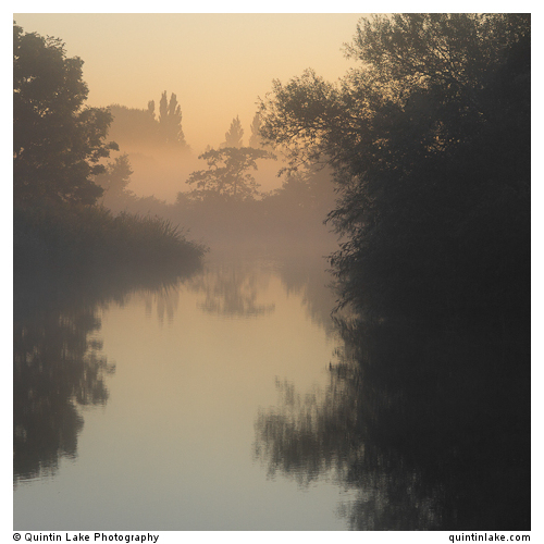Thames Waters 100 miles downstream (dawn near Shiplake). Thames Path, England, UK
