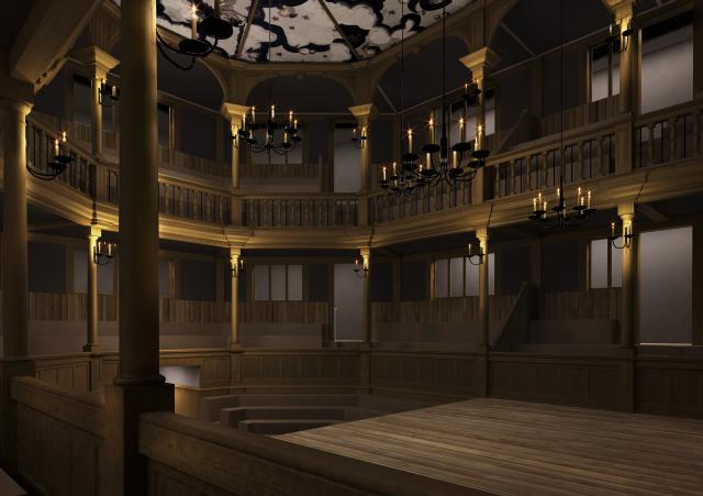 Interior of The Sam Wanamaker Theatre / CGI by Allies & Morrison