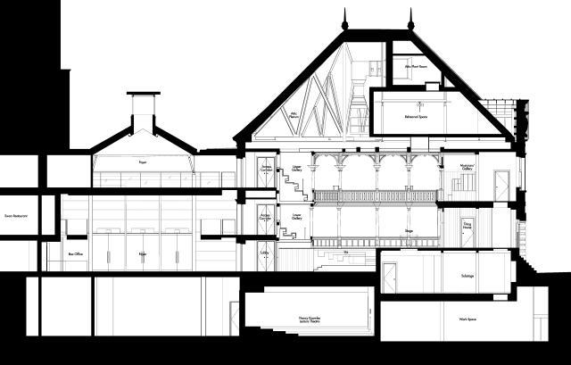 Architect's drawing of The Sam Wanamaker Theatre / by Allies & Morrison