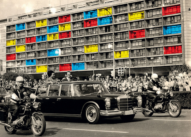 Sanja Iveković, New Zagreb (People Behind the Windows), 1979, photomontage: digital print mounted on aluminium, 122 x 167.8 cm. Courtesy of the artist