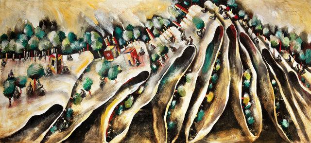 David Breuer-Weil, Bipolar, 2007, oil on canvas, 196 x 426 cm (courtesy of the artist)