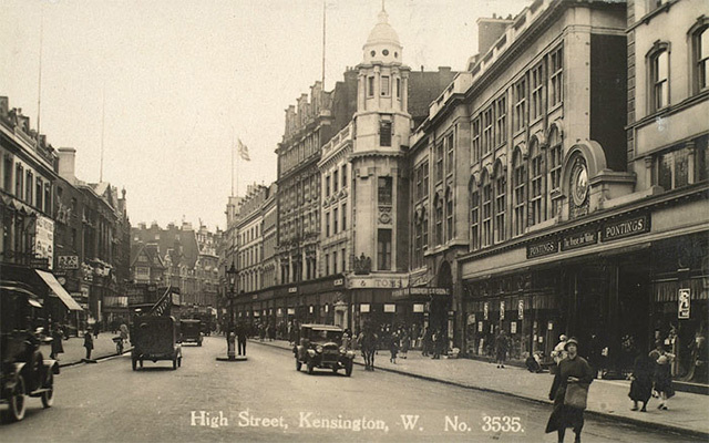 Derry & Toms & Pontings, two of the early-20th century department stores in Kensington High Street, photographed in 1929. Derry & Toms and rival Barkers both moved into purpose-built Art Deco buildings in the 1930s; one is now home to the flagship Whole Foods store.