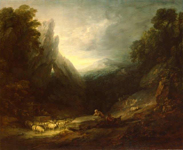 03/1396  PL001739  Thomas Gainsborough R.A.  Romantic Landscape, c. 1783  Oil on canvas, 153.7 x 186.7 cm  Photo: Prudence Cuming Associates Limited �© Royal Academy of Arts, London