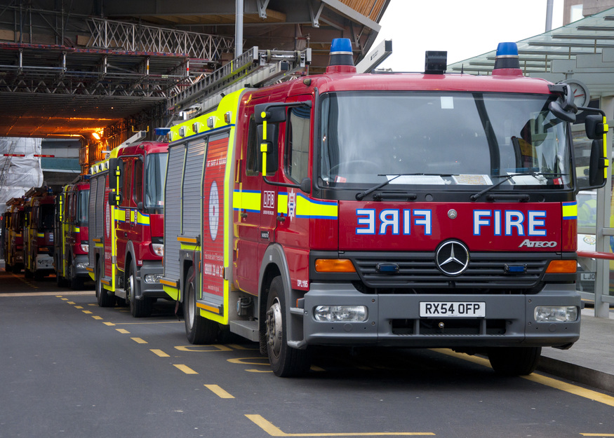 Fire engines parked up beside London Bridge Station