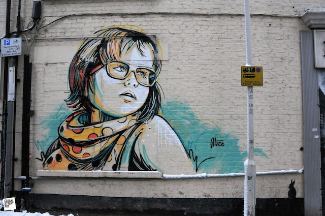 Alice Pasquini's piece on Assam Street.