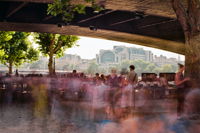 Ghosts Under The Bridge : A long exposure of the second hand book market that thrives under Waterloo Bridge