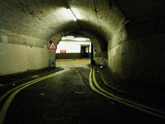 Lower Robert Street, a supposedly haunted road tunnel beloved of cabbies, south of Strand. This image is by Robert Lordan, who recently wrote a short piece about the tunnel. See http://blackcablondon.wordpress.com/2012/09/13/lower-robert-street-a-ghostly-tunnel-in-the-heart-of-london/