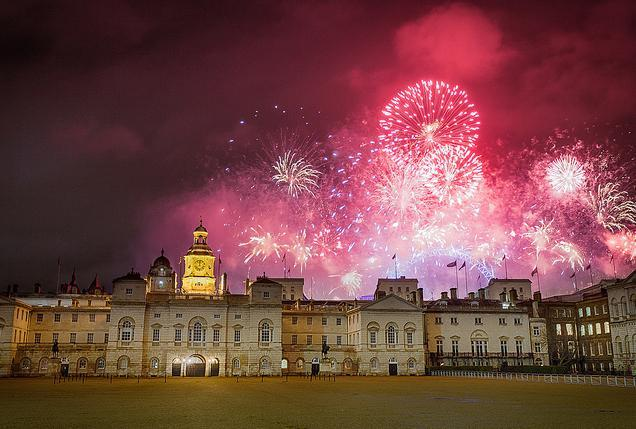 Fireworks seen from Horse Guards Parade by Tom Weightman