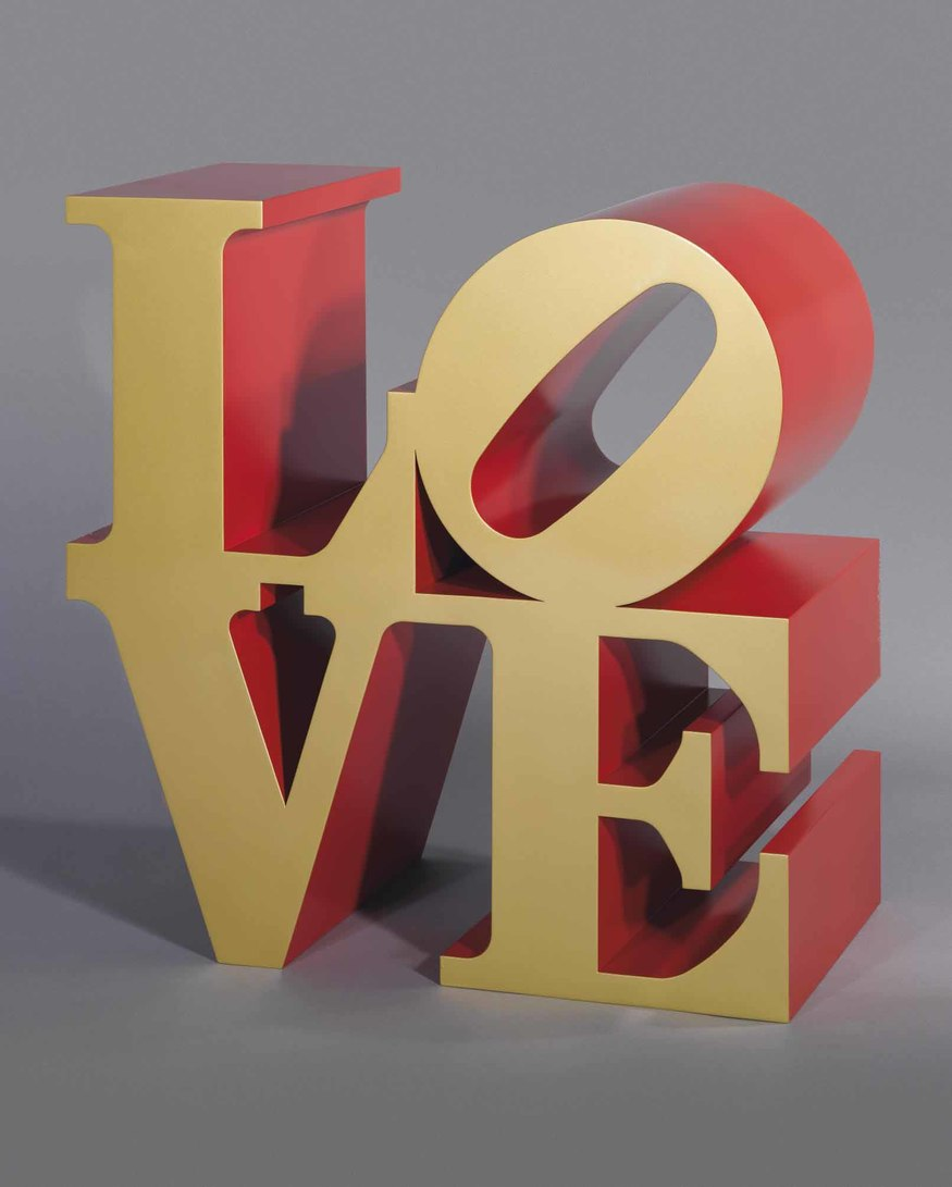 Robert Indiana (1928 -) Love (gold faces - red sides), 1966 - 2002. Image courtesy Opera Gallery.