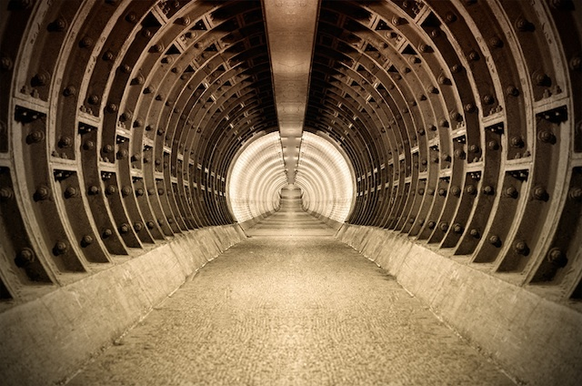 The Greenwich foot tunnel, as photographed by Edward Neumann, using a mirror imaging technique in Photoshop to achieve greater symmetry.