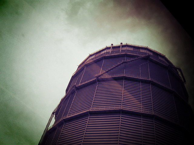 Battersea gas holder from the train by dusty sevens