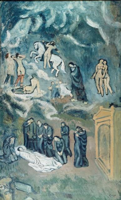 Pablo Picasso (1881-1973) Evocation (The Burial of Casagemas), 1901 Oil on canvas, 150 x 90 cm Musée d'art moderne, Paris