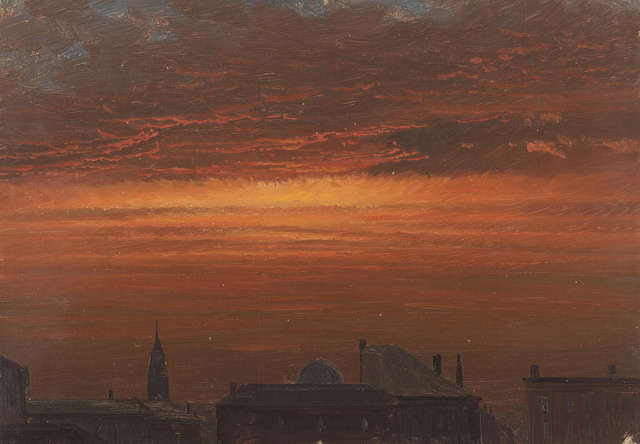 Hudson, New York at Sunset. 1867. Brush and oil paint on canvas. 39.7 x 50.2 cm. Gift of Louis P. Church, 1917-4-1346-b. Photo: Matt Flynn © Smithsonian Institution