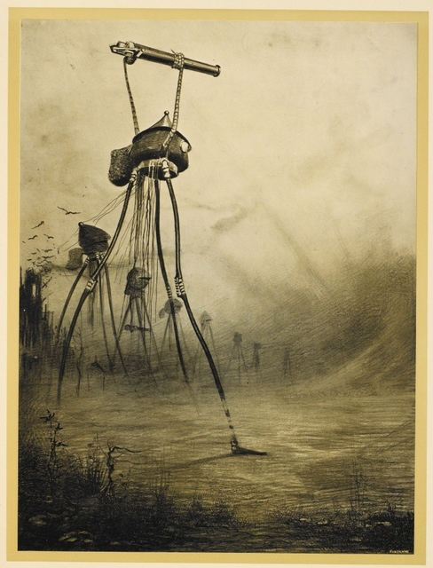 © British Library. Depiction of scene from War of the Worlds by H.G.Wells, where the Martians destroy an ironclad battleship using a heat-ray