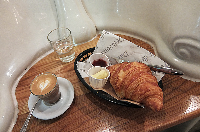 A piccolo and a croissant