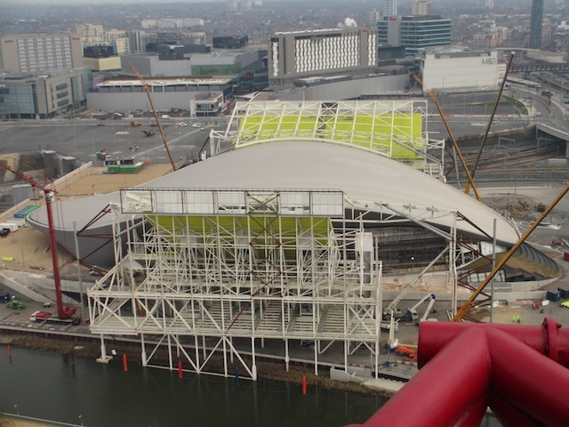 View of the Aquatics Centre with its now-skeletal wings.