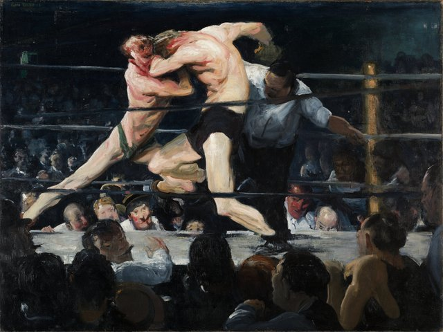 George Bellows  16 March 2013 to 9 June 2013    Key. 24  /  Cat. 17    George Bellows  Stag at Sharkey's, 1909  oil on canvas  92 x 112.6 cm  The Cleveland Museum of Art, Hinman B. Hurlbut Collection  �© The Cleveland Museum of Art    Exhibition organised by the National Gallery of Art, Washington, in association with the Royal Academy of Arts, London, and the Metropolitan Museum of Art, New York .