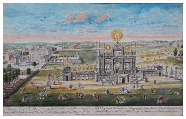 Caption reads: A Perspective View of the Magnificent Structure erected in the Green Park for the Royal Fireworks exhibited the 27 of April 1749 on account of the General Peace. Image supplied by Pains Fireworks.