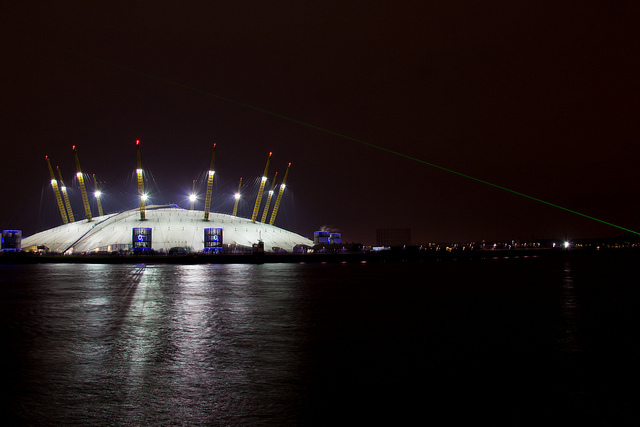 The O2 at Night With Prime Meridian Line Laser