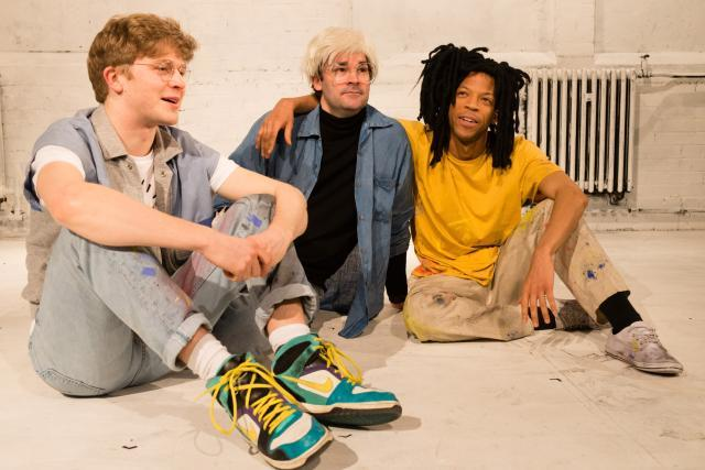 Simon Ginty as Keith Haring, Adam Riches as Andy Warhol and Michael Walters as Jean-Michel Basquiat / photo by Jane Hobson