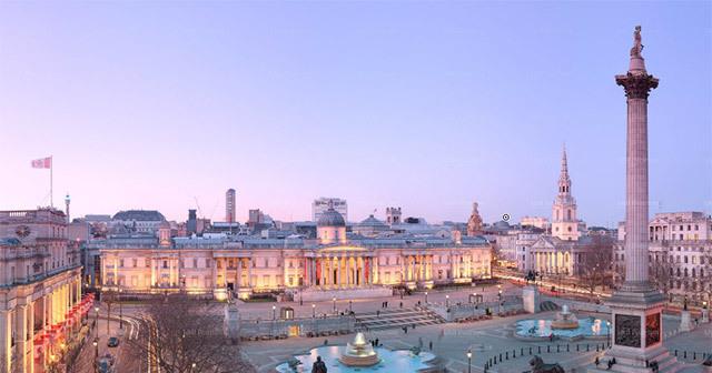 Interactive Panorama Of Trafalgar Square At Twilight