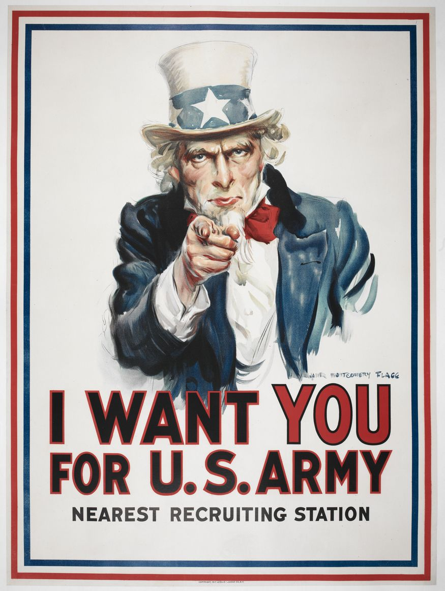 Over four million copies of this poster were printed between 1917 and 1918, after the US entered World War I. Because of its enormous and enduring popularity, the image was adapted for use in World War II and has been satirised in anti-war propaganda during the Vietnam War and later conflicts. James Montgomery Flagg (artist), I want You for US army. c.1917. Loan courtesy of Anthony d'Offay, London