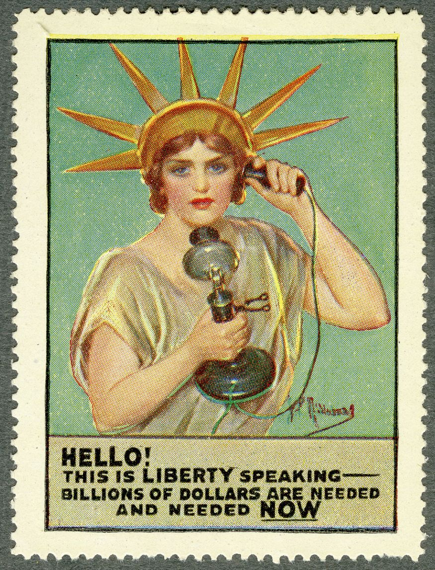 """War bond stamps could be mass produced and circulated widely. Liberty provided a symbol that would be understood anywhere in the United States. The theme of """"freedom imperilled"""" deflected from discussion of the rationale for joining the war. National War Savings Committee. Paper bags with war savings messages. c.1916."""
