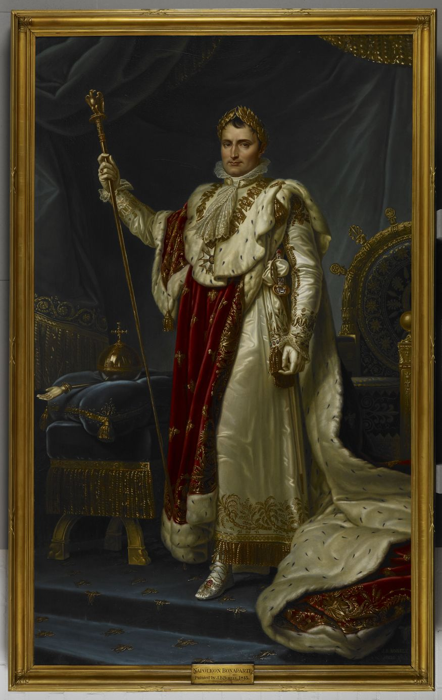 This enormous portrait of Napoleon was painted to inspire loyalty and intimidate critics at a time when the emperor's power was declining and France was besieged on all sides. The painting was originally hung in the Council Hall of Montpellier but less than a year later, with Napoleon defeated, the painting was removed and returned to the artist with the bill unpaid. Napoleon, J. B Borely, 1813