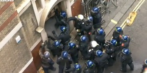 Riot Police Tackle Anti-G8 Protesters In Soho