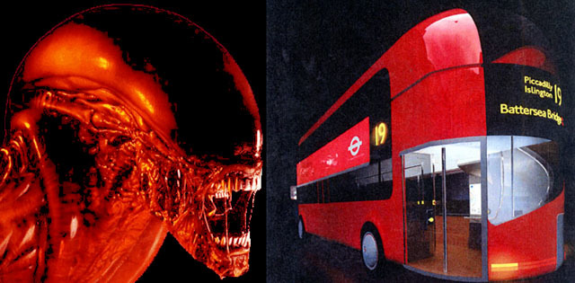 An early design for the New Bus for London looks eerily like the Alien from Alien.