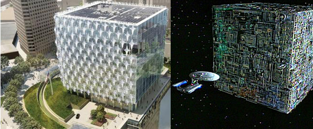 Left: a Borg cube. Right: the new US Embassy to be built at Vauxhall.