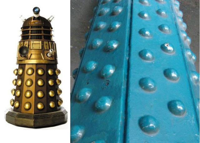 Left: support struts from Whitechapel Station. Right, a Dalek, yesterday.