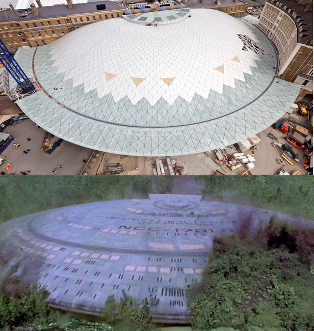 The new King's Cross concourse looks a lot like the saucer section of the USS Enterprise D from Star Trek, here seen crash landing in the film Generations.
