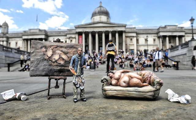 German born painter Lucian Freud was granted British citizenship in 1939 having fled Nazi persecution with his family ahead of the war. Here he is reunited outside the National Gallery in Trafalgar Square with his most famous muse 'Big Sue' who posed for his portrait 'Benefit Supervisor Sleeping'.