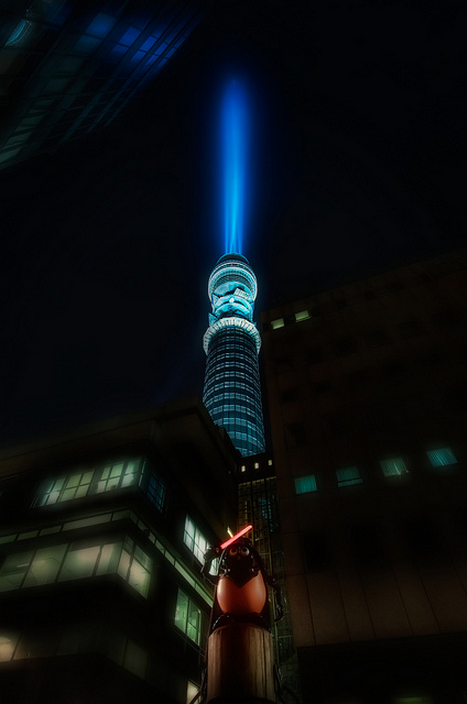 The BT Tower was turned into a giant lightsaber to promote the release of the Star Wars saga on Blu-Ray. Londonist Flickr pool contributor MurphyZ was on hand to snap it.