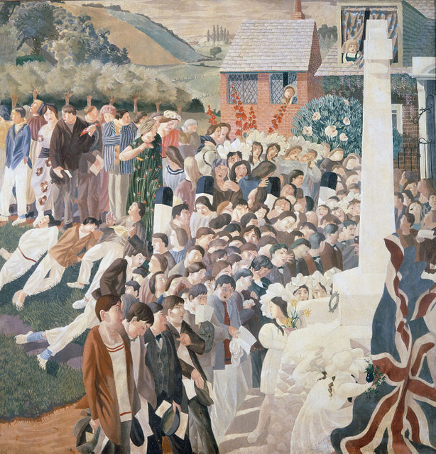 Stanley Spencer Unveiling Cookham War Memorial 1922. Image courtesy Dulwich Picture Gallery