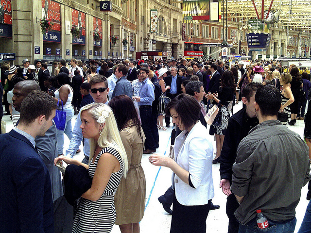 Long ticket queues on a Saturday morning at Waterloo Station, London by Cybermyth13
