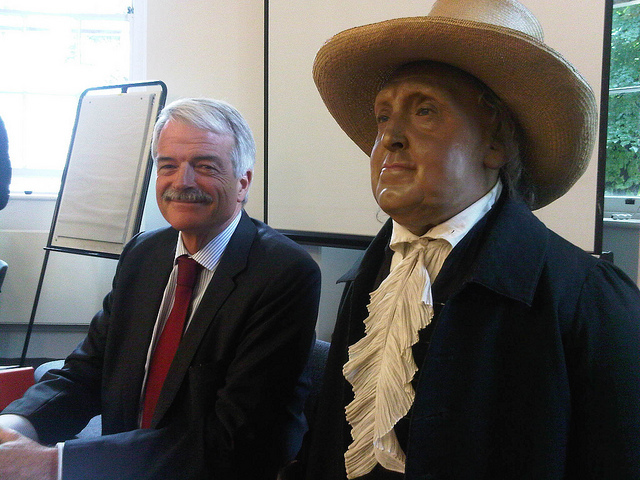 Bentham (right, obviously), with outgoing provost Malcolm Grant.
