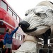 Aurora, the double-decker-bus-size polar bear puppet specially commissioned by Greenpeace to lead an Arctic-inspired street parade to the London HQ of oil giant Shell on 15 September. The three-tonne marionette bear will be operated from the inside by a team of 15 puppeteers, including artists from West End blockbuster War Horse, and will be hauled on ropes by 30 volunteers along a route including the Houses of Parliament and Westminster Bridge. As well as having the animal�s characteristic curved gait, the 41-foot long puppet is fully articulated and can move her head and jaws, while the fabric-covered sides billow, creating a breathing-like motion.