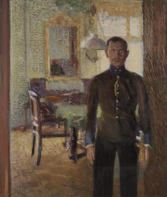 Gerstl_leutnant1, 12.03.2002, 12:49 Uhr,  8C, 8000x9272 (0+1063), 100%, chrome 7 stops,  1/30 s, R62.3, G25.6, B31.5  130x153cm, Ö/L  Richard Gerstl: Leutnant  oil on canvas 150 x 125 cm