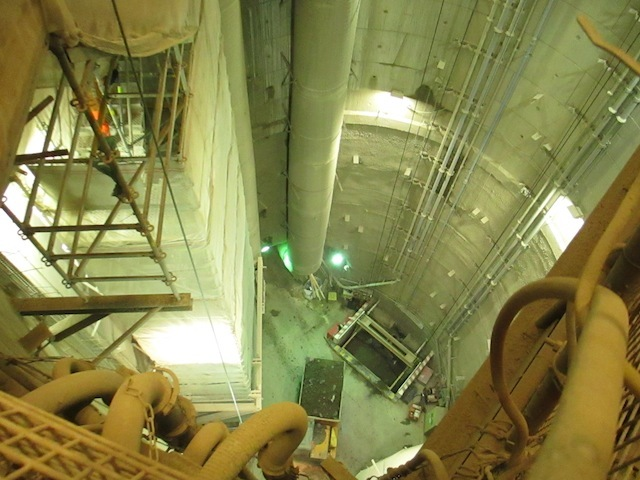 Looking down into the pit.