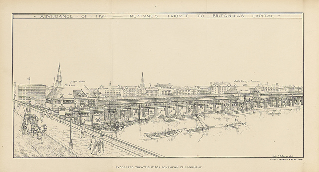 Another view of the South Bank as it might have been. The labels identify a coffee shop and (prophetically) an aquarium on the site of the future County Hall.