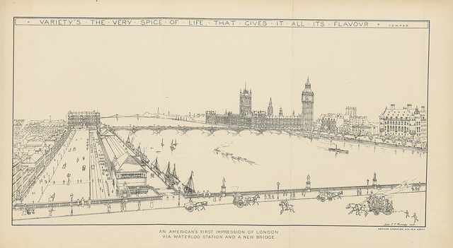A view of the Thames from Waterloo Bridge, with some significant alterations to the South Bank.