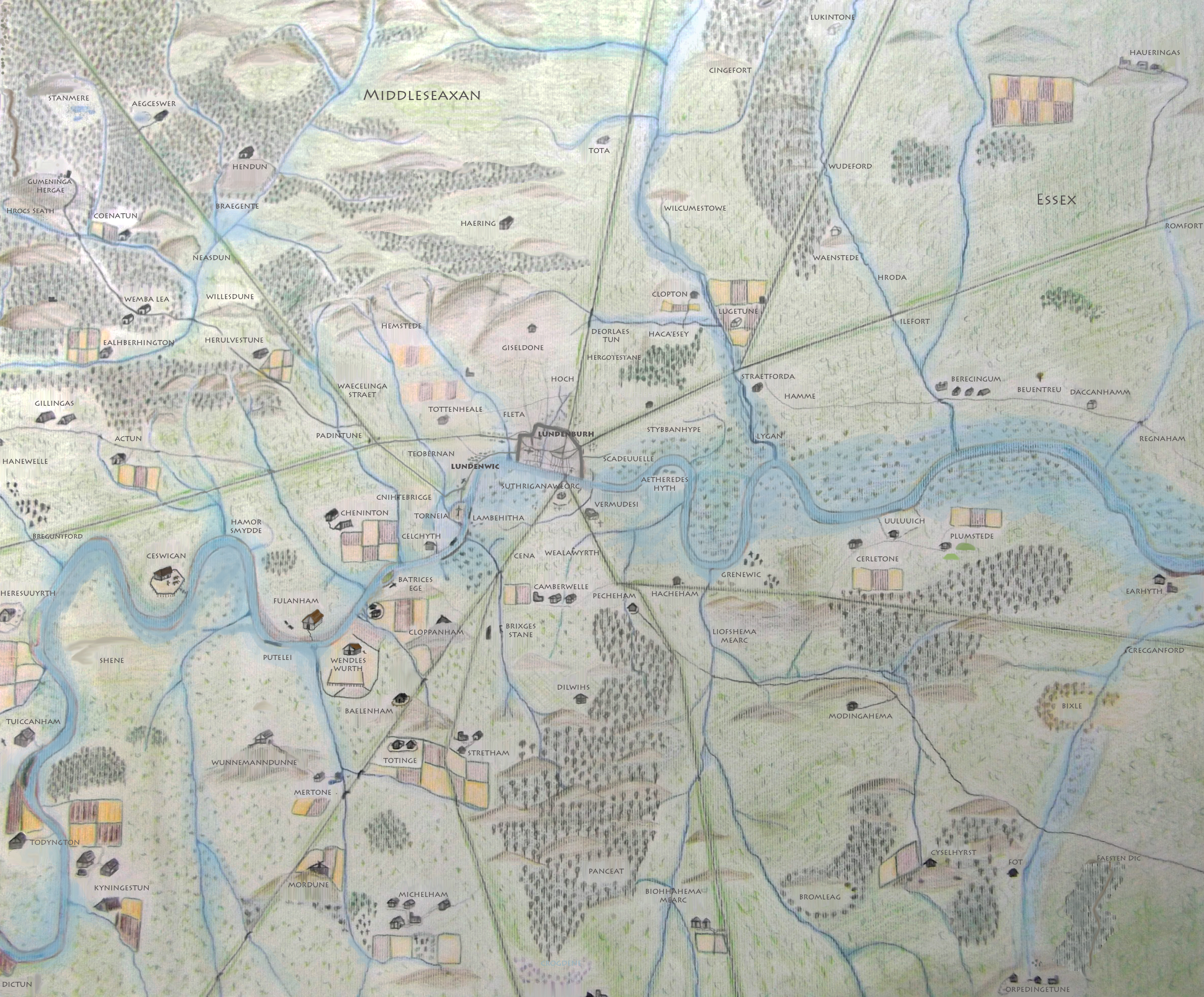 Map Around London.A Map Of Anglo Saxon London Around 1000ad 2381x1973 Mapporn