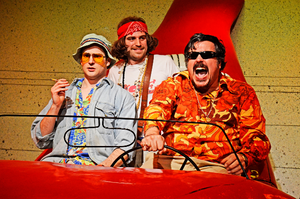 Ed Hughes (Raoul Duke) Tom Moores (Endsemble) and Rob Crouch (Dr Gonzo) in Fear and Loathing in Las Vegas at VAULT Festival 2014 Photo: Nobby Clarke