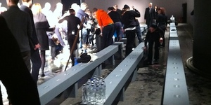 Water Pipe Bursts At Men's Fashion Show