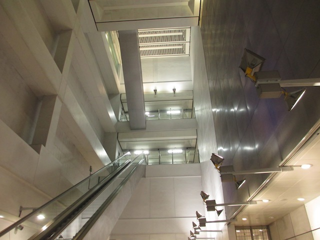 This huge atrium at Heathrow Central is much bigger than it needs to be. The volume was scooped out following the infamous tunnel collapse during in 1994. Rather than fill it all back in again, the architects chose to make use of it.