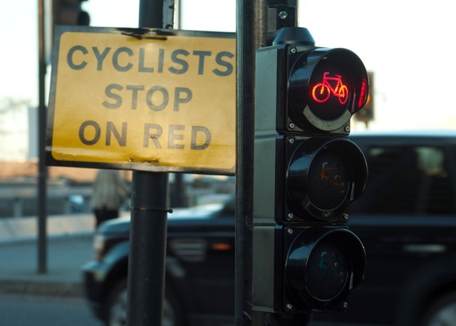 The cycle signals are relatively new and so additional signs are also needed