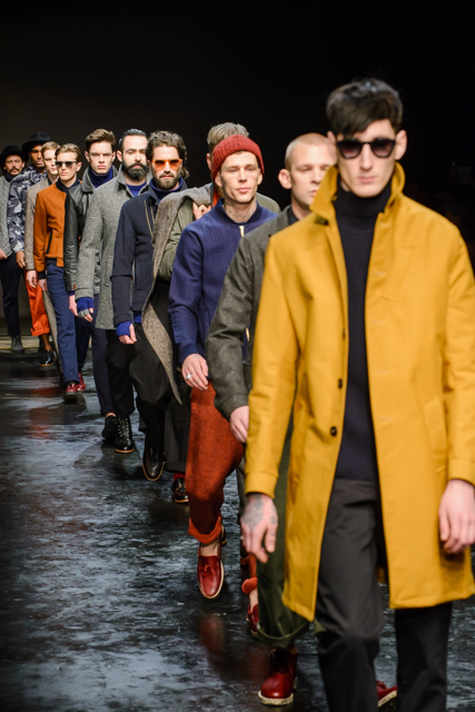 Men and fashion in a show (for Oliver Spencer).