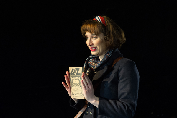 London, UK. 21.02.2014. THE A TO Z OF MRS P has its world premiere at Southwark Playhouse.  The story behind the handy, all-purpose, pocket-sized A-Z Street Guide is written by Diane Samuels (book) and Gwyneth Herbert (music and lyrics).   Starring ISY SUTTIE (Peep Show / Shameless) in her first musical, as the pioneering Mrs P; with Tony Award winner FRANCES RUFFELLE (Les Miserables, Pippin, Piaf) as her emotionally fragile mother; and Olivier Award winner MICHAEL MATUS (Martin Guerre, The Baker's Wife, The Sound Of Music) as Phyllis's beloved and impossible father, the map publisher Sandor Gross. Directed by Sam Buntrock. Picture shows: Isy Suttie (Mrs P).  Photograph © Jane Hobson.